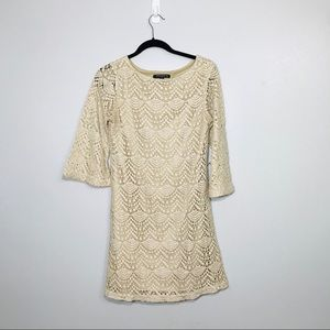 Sharagano Nude Lace Dress. Long Sleeve. Size 6